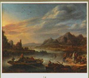 Bergachtig rivierlandschap met vissers
