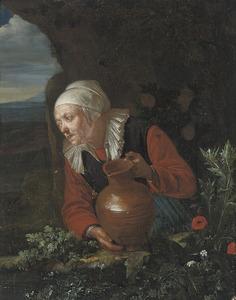 Oude vrouw met een aardewerk kruik