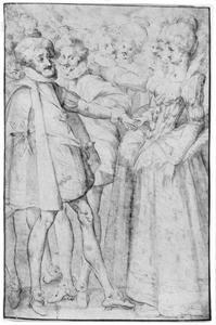 Koning Hendrik IV met zijn echtgenote Maria de' Medici en zijn zuster Catharine de Bourbon tijdens een bal in Nancy in 1603