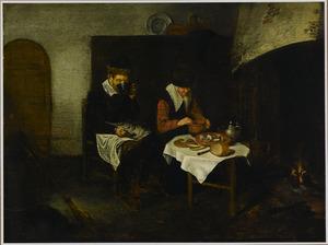 Bejaard paar aan de maaltijd voor het haardvuur