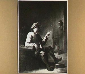 Herberginterieur met een rokende en een plassende man