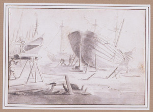 Scheepswerf met schip op een scheepshelling