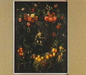 De engel van de annunciatie in een cartouche omringd door een guirlande van bloemen en fruit