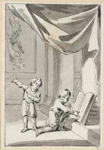Illustratie voor 'De waare rijkdom' in de Kleine gedichten voor kinderen door H. van Alphen