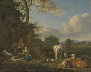 Arcadisch landschap met rustende herders en vee