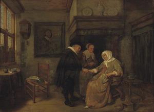 Interieur met een dokter die de pols voelt van een zieke vrouw