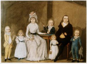 Portret van Geurt van den Boogaard (?-?), Cornelia Antonia Bonte (?-?) en hun kinderen