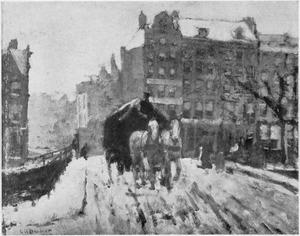 Sleperskar op een besneeuwde Amsterdamse brug