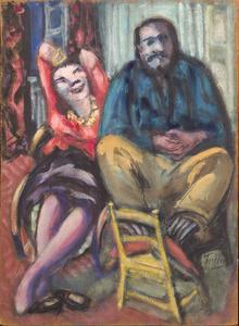 kunstschilder Frans Hazeveld (Dalfsen 1911-01-29 Amsterdam 1967-04-05) en zijn Belgische vrouw Germaine