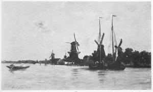 Rivierlandschap met molens in de omgeving van Dordrecht