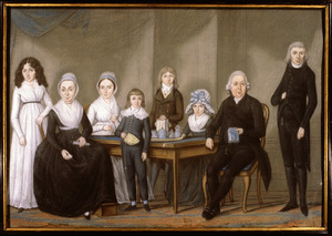 Portret van Jan Troost (1766-1792), Aleyda van der Sluys (1745-1828) en zes kinderen