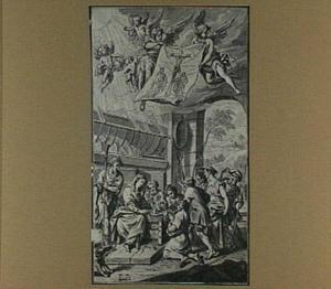 De aanbidding van de herders met engelen die een afbeelding van de kruisiging dragen