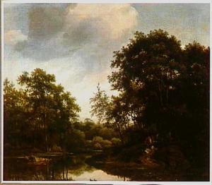 Boslandschap met een vijver