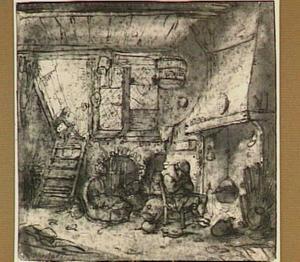 Interieur met figuren