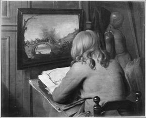 Jonge tekenaar in zijn atelier
