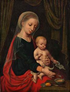 Maria met kind, papvoerend uit een tinnen bakje