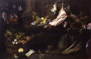 Keukeninterieur met op de achtergrond Christus op bezoek bij Maria en Martha