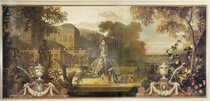 Italianiserend landschap met paleis en fontein