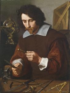 Een geleerde met wiskundige instrumenten