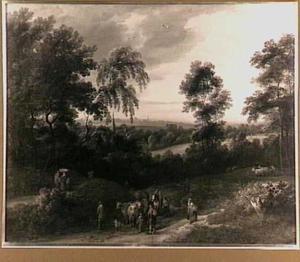 Brabants boslandschap met boeren en dieren
