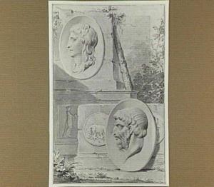 Klassieke portretmedaillons en munten gearrangeerd op een piëdestal