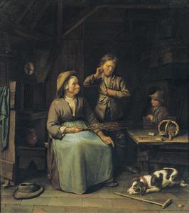 Interieur met een oude vrouw en twee jongens
