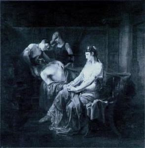 De dodelijk gewonde Marcus Antonius bij Cleopatra