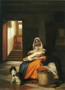 Interieur met een vrouw die een kind de borst geeft