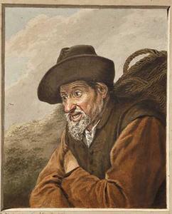 Oude visser met een mand op zijn rug