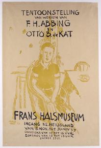 Meisjesportret voor affiche bij tentoonstelling F.H. Abbing