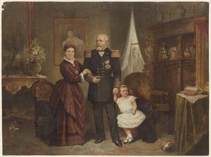 Portret van koning Willem III (1817-1890), koningin Emma (1858-1934) en prinses Wilhelmina (1880-1962)