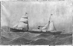 """Het stoomschip """"Jason"""" van de Koninklijke Nederlandse Stoombootmaatschappij"""