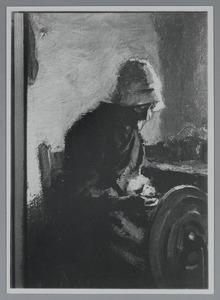 Vrouw met spinnewiel