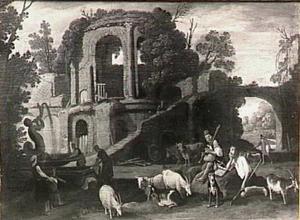 Herders bij een antieke ruïne