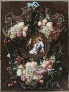 Drie trossen vruchten rondom een medaillon met drie putti