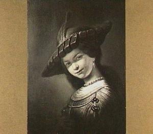Buste van een lachende, jonge vrouw, mogelijk Saskia van Uylenburch (1612-1642)