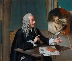 Portret van de kunstverzamelaar François Tronchin (1704-1798) met zijn schilderij van Rembrandt