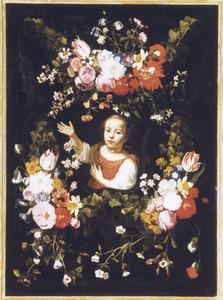 Bloemenkrans rondom een gebarend kind