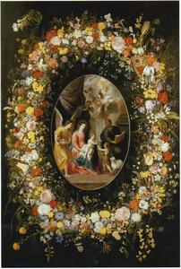 Bloemenkrans rond een medaillon met de voorstelling van de Heilige Familie met Johannes de Doper en engelen