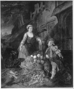 Een groentenverkoopster en een vioolspeler