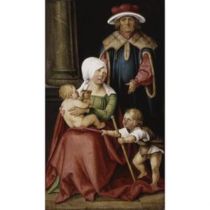 Maria Salome en Zebedeüs met hun zonen Jacobus de Meerdere en Johannes de Evangelist