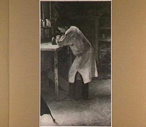 Portret van de beeldhouwer Lambertus Zijl (1866-1947) in zijn atelier