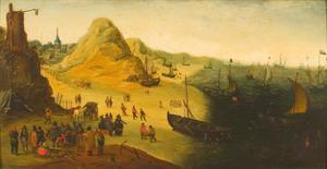 Zeegezicht met duinen en een vissersdorp
