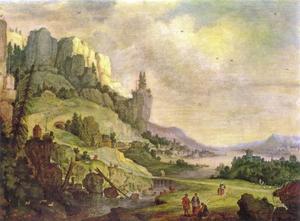 Berglandschap met reizigers