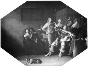 Elegant converserend en drinkend gezelschap in een interieur