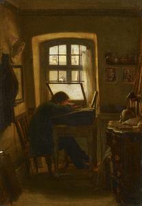 Prentkunstenaar in zijn atelier