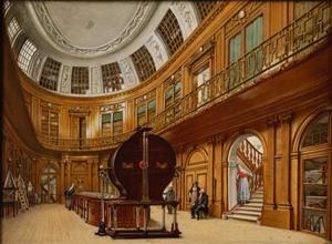 Interieur van de ovale zaal in Teylers Museum in Haarlem