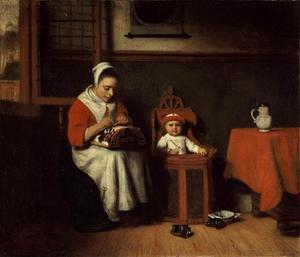 Kantklossende vrouw met kind in kinderstoel