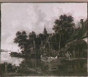 Rivierlandschap met aanlegplaats bij een dorp