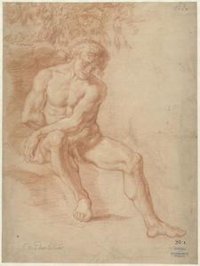 Zittend mannelijk naakt